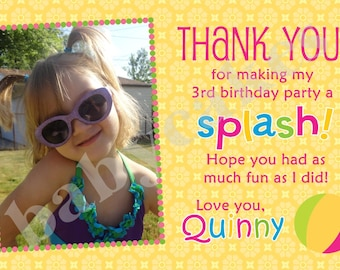 Pool Party Thank You Card photo picture - DIY Print Your Own Digital