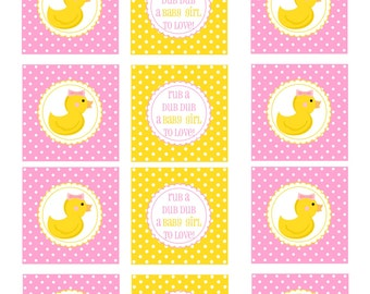 Rubber Ducky Cupcake Toppers, baby shower cupcake toppers, rubber duck baby shower cupcake toppers, girl baby shower, pink yellow, DIY