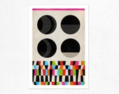 Geometric Exercise N.1.  (colorful & black). Geometric Illustration print (A4).
