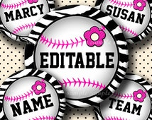 INSTANT DOWNLOAD Editable JPG Girly Pink Baseball (609) 4x6 Bottle Cap Images Digital Collage Sheet  bottlecaps hair bows bottlecap images