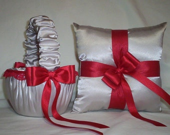 Silver Satin With Red Lace Trim Flower Girl Basket And Ring Bearer Pillow Set 1