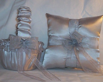 Silver Satin With Silver Ribbon Trim Flower Girl Basket And Ring Bearer Pillow Set 4