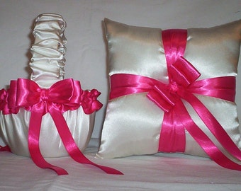 Ivory Cream Satin With Fuchsia Ribbon Trim Flower Girl Basket And Ring Bearer Pillow Set 2