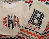 Baby Boys Monogrammed Bib and Burp Cloth with Plane