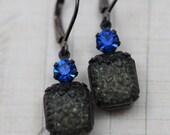 Vintage Earrings - Capri Blue Black Earrings Unique Earrings Leverback Gunmetal Earrings - Bridesmaids Earrings Clip On Earrings Available