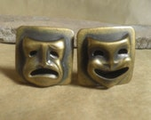 vintage EARRINGS, clip-on's, Theatre masks