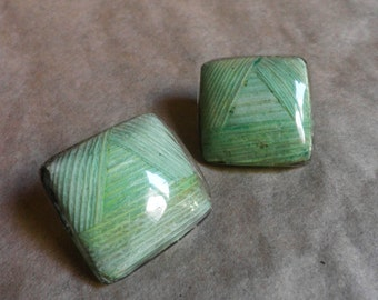 1980's Earrings, large square RESIN covered Leaves, Pale green