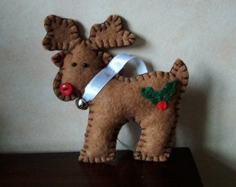 Rudolph the reindeer felt Christmas tree decoration.