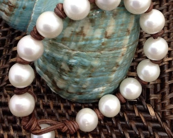 White Freshwater PEARLS ALL AROUND Bracelet