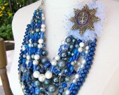 Statement Necklace, Vintage Necklace, Layered Necklace, Multi strand, Blue, Medal, Pearl, Boho, Assemblage, SALE - Order of the Starry Cross