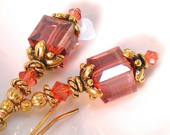 Peach Orange Coral Padparadscha Crystal Earrings in Gold