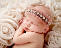 Sparkly pearl rhinestone crown newborn headband, adult headband, child headband and photography propSprinkled Victorian trim headband