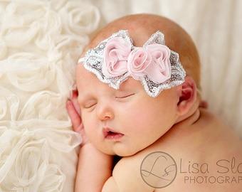 Baby headband, newborn headband, adult headband, child headband and photography prop The single sprinkled- SEQUIN bow  headband