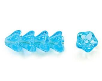 Czech  Glass Beads, 6x8mm, Azure Blue Bell Flower , Qty: 10