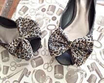 Olivia Paige - Glamour punk rock leopard Anchor Bows Shoe CLips