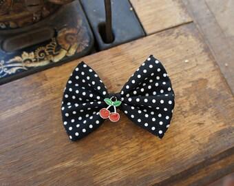 Olivia Paige -polka dot cherries pin up rockabilly hair bow
