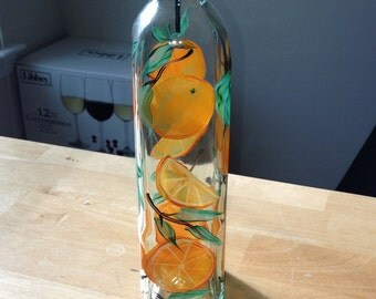 Hand painted Oil and Vinegar Bottle - oranges