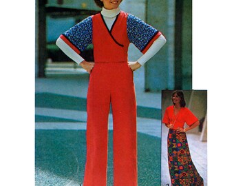 Simplicity 7126 Vintage 70s Misses' Jiffy Front-Wrap Top, Pants and Skirt Sewing Pattern - Uncut - Size 10 or 12