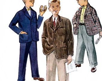 Simplicity 4578 Vintage 50s Boy's Jacket and Trousers Sewing Pattern - Uncut - Size 5