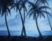 Original Oil Palm Trees in Miami Landscape 16 X 20 Unframed Canvas