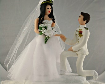 Military Wedding Cake Topper CUSTOMIZED to your features and attire Hand Sculpted in Clay