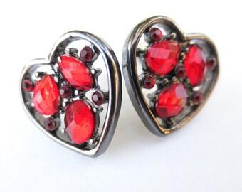 Love Heart Earrings Gun Metal and red gems