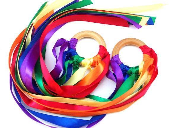Waldorf Hand Kites 2 RAINBOW Maker Whirligigs, WALDORF Toy Ribbon Streamer