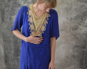 1920s Blue Silk Dress Lace Colla