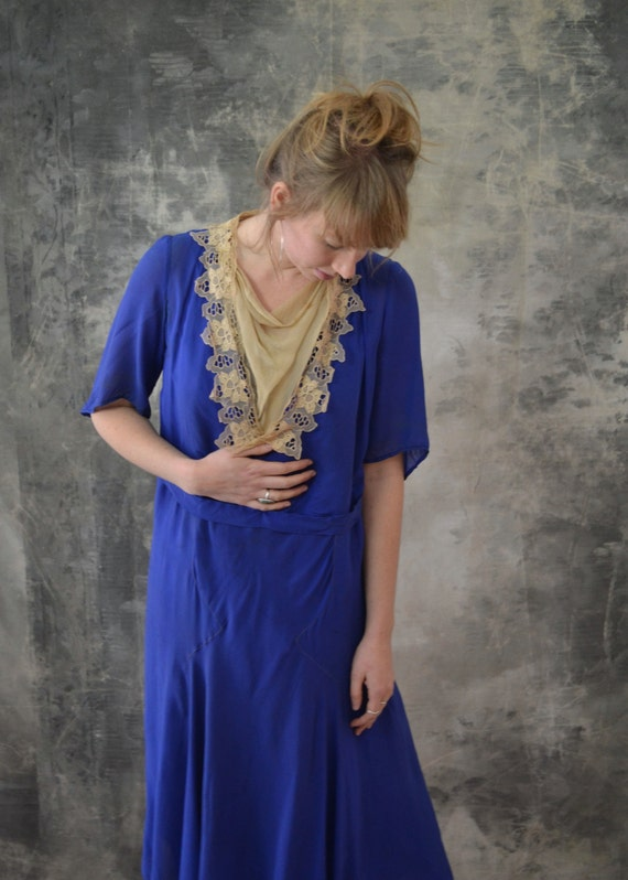 1920s Blue Silk Dress Lace Colla