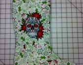 Christmas Calavera Embroidered Stocking