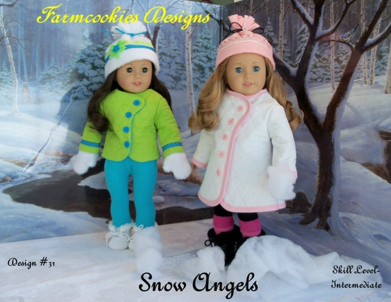 "PRINTED Sewing Pattern / Snow Angels  / Clothes for American Girl or other 18"" Doll"