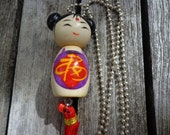 NEW! Necklace with cute lucky doll on a silver tone ball chain. Funky Kawaii. Kitsch. Trendy. Sweet. Love.