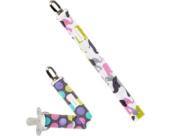 Girls Pacifier Clip Set of 2 in Elephants and Polka Dots - Cute Baby Gift - FREE SHIP