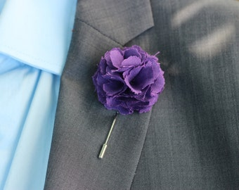 Plum, egplant Carnation wedding boutonniere, mens lapel pin