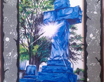 Oakland Cemetery Sunburst- Print with Hand Painted Cardboard Mat