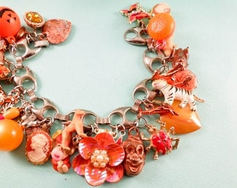 Orange Ya Glad One of a Kind Repurposed Vintage Jewelry Charm Bracelet