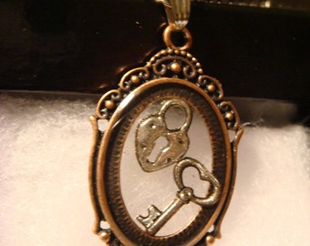 Steampunk Pendant Necklace with a Key and Heart Lock (1161)