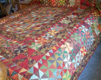 Queen Quilt or King Quilt - Autumn Fonthill Pinwheels and more Pinwheels  Patchwork Bed Quilt