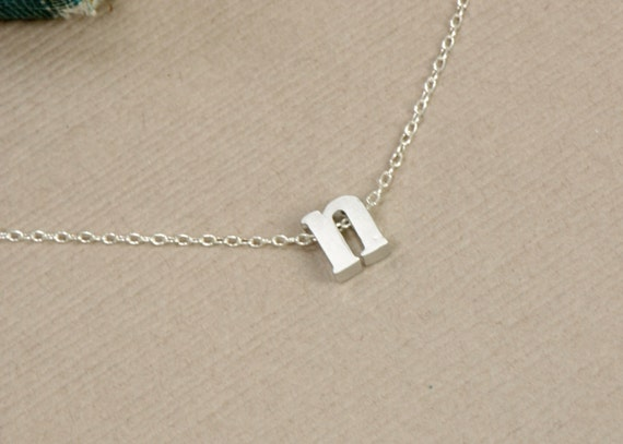 Lowercase initial necklace silver personalized jewelry for Lowercase letter necklace