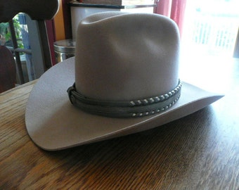 Handsome Pure Wool Felt Cowboy Hat with A Handmade Leather Band in Great Shape