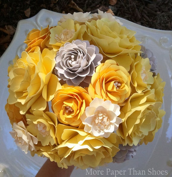 Yellow And Grey Wedding Flowers: Items Similar To Paper Flower Bouquet