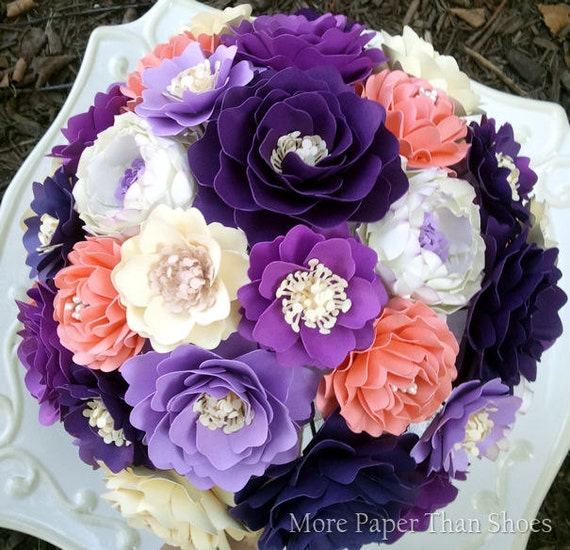 Handmade Paper Flower Bouquet - Wedding Bouquet - Shades of Purple and Salmon - Custom Made - Any Color