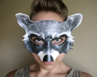 Raccoon Leather Mask - Adult or Child Sizes - Masquerade Mask - Halloween Costume - Rocket - Guardians of the Galaxy - Art - Cosplay