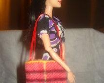 Red and black striped plaid tote bag purse for Fashion Dolls - bap27