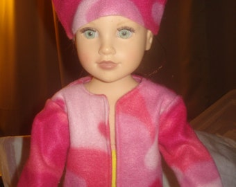 Handmade pink Fleece Camoflage jacket & hat for 18 inch Dolls - ag219