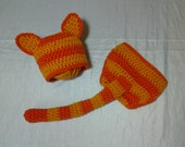 CLEARANCE Orange Tabby Cat Hat  and Diaper cover with Tail  for 0 - 3 months Ready to Ship