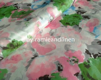 "silk fabric, floral print silk cotton blend fabric, dress fabric, half yard by 44"" wide"
