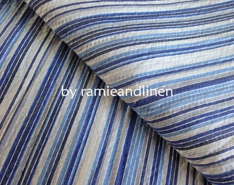 """ICE, Japanese cotton fabric, blue stripes and weaved checks cotton fabric, half yard by 44"""" wide"""