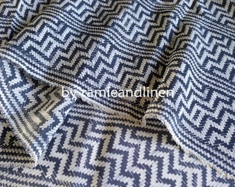 "Silk fabric, vintage zigzag print crepe de chine silk fabric, pure silk fabric, dress fabric, one yard by 45"" wide"