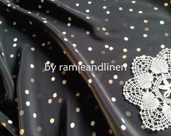 "Silk fabric, 18m/m irregular dots print on dark blue pure silk crepe de Chine, one yard by 44"" wide"